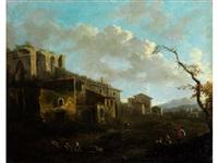 landschaft mit bauerngehöften und römischer ruine by jacob de heusch