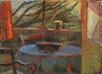 interior with blue tablecloth by ellen fischer