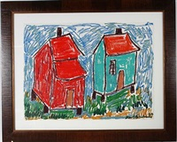 red and green houses by beverly buchanan