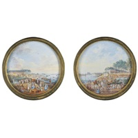 views of the château de bercy, paris (2 works) by henri-joseph van blarenberghe