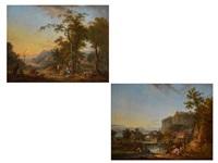 paar landschaften mit figuren, fluss und stadtansicht by jean baptiste charles claudot