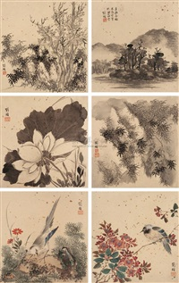 山水花鸟 (landscapes and small birds) (album w/10 works) by liu zhen