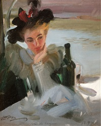 dam vid café, isle de seguin (lady in a café, isle de seguin) by anders zorn