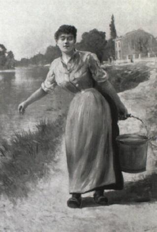 ung kvinde i blå kjole brende på spand i baggrunden hus ved flod by gustaf adelsward