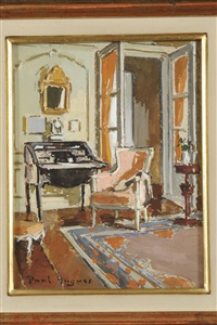 an interior scene of a drawing room; an interior scene of a breakfast room (pair) by paul hughes