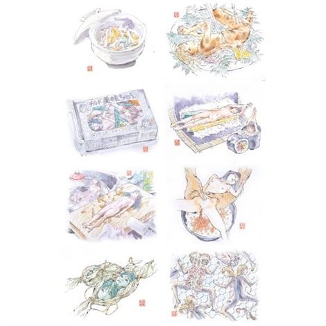 edible artificial girls, mi-mi chan series (set of 8) by makoto aida