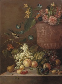 grapes, peaches, a pear, plums, a cabbage, a walnut, a hazelnut, cherries and fly on a stone ledge by g. dadelbeek