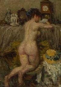 interieur mit weiblichem rückenakt by rudolf petuel