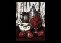 still life with strawberries by masahiko yamanaka