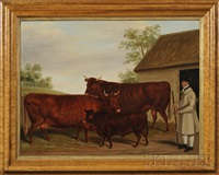 barnyard scene with a gentleman farmer and cattle by james (of bath) loder