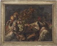 natura morta con tappeto, anfora e frutta by francesco fieravino (il maltese)