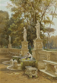 a woman at a fountain, villa borghese, rome by charles earle