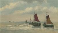marine mit fischersegelbooten an einem dunstigen morgen by bartol wilhelm van laar