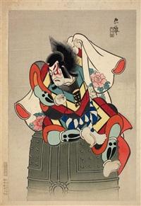 benkei, sitzend auf der glocke von miidera (2 works from a series) (ôban) by ueno torii tadamasa