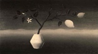stilleven (witte pul, tak met 2 citroenen) by tine van doornik