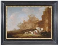 ruinenlandschaft mit melkender viehhirtin by nicolaes berchem