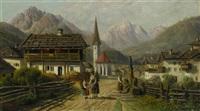 gebirgsdorf mit frauen am brunnen by alois toldt
