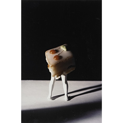 walking camera and walking petit-fours (white icing) (2 works) by laurie simmons