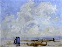 beach scene, suffolk shore by edward holroyd pearce