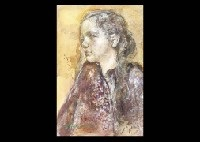 girl figure (+ a woman with a dog, stone pigment on canvas laid on board, smllr; 2 works) by yoshihiko wada