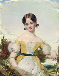 portrait of a young girl in a yellow and white dress, with a green sash, holding a basket of flowers, a landscape beyond by william jnr. patten
