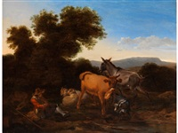 junger hirte mit tieren in hügeliger landschaft by nicolaes berchem