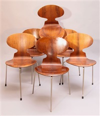 6 stühle ameise, mod. 3100 by arne jacobsen