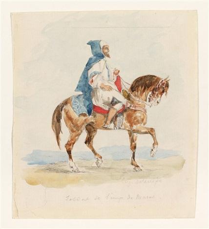 soldat de lemp de maroc cavalier arabe by eugène delacroix