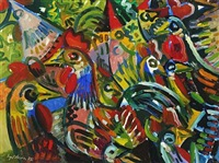 composition with chickens by eyvind olesen