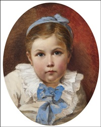 a girl with a blue bow by nikolai y. rachkov