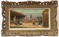 children playing at the seaside (+ another; pair) by paul j. attfield