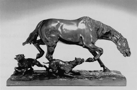 horse and two dogs by count agostino marazzani visconti
