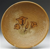 plate painted with amber flowers by arequipa pottery