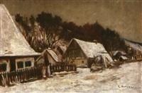 bauernhäuser im winter by rudolf petuel