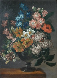 still life of lilac, hyacinth, narcissus, honeysuckle, parrot tulips, poppies and apple blossom in a roemer by james (sillet) sillett