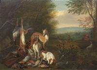 jagdbeute mit hunden an einem waldrand, im hintergrund jäger an einem brunnen (+ jagdbeute mit hunden vor einem denkmal, im hintergrund jäger; pair) by german school-frankfurt (18)