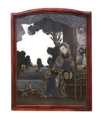 a chinese reverse painted mirror depicting a seated maiden wearing a fox tail cape while smoking an opium pipe within an interior overlooking a riverfront landscape by anonymous-chinese (qianlong)