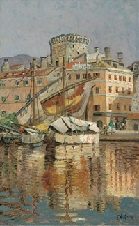 the harbour at spoleto, italy by eugen ankelen