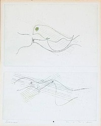 two compositions (2 works on 1 sheet) by max ernst
