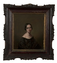 portrait of a western lady in brown dress by youqua