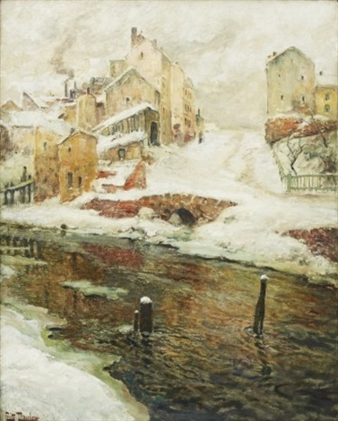 faubourg de christiania neige by frits thaulow