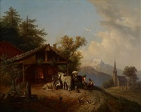 scène campagnarde au maréchal-ferrant by joseph heicke