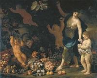 una fanciulla raccoglie frutti in un orto, porgendoli a una bimba, con due putti (collab. w/abraham brueghel) by nicola vaccaro