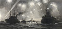 parachute flares deter u-boat attack by montague dawson
