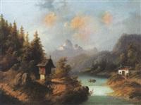 sommerliche alpenlandschaft by jules-leon-edouard jacquet