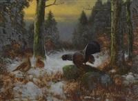 balzender auerhahn im winterwald by otto scheuerer