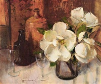 still life with magnolias, bottles and wine glasses by irmin henkel