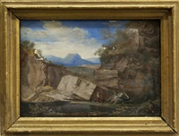 figure with a dragon by a pool with rocky outcrop and mountains beyond by pierre antoine patel