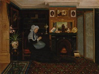 a woman sewing beside the fire by marie j. naylor