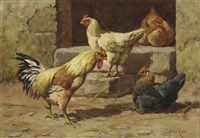 a group of poultry (+ a garden corner; pair) by william baptiste baird